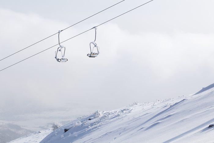 seat of rope way at winter