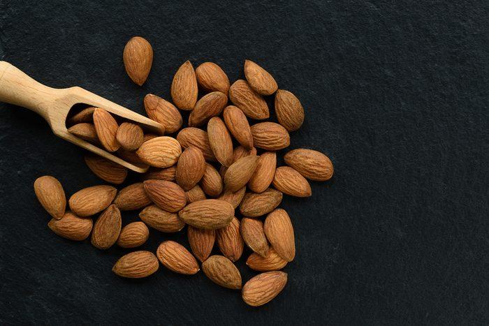 Almonds on a black background
