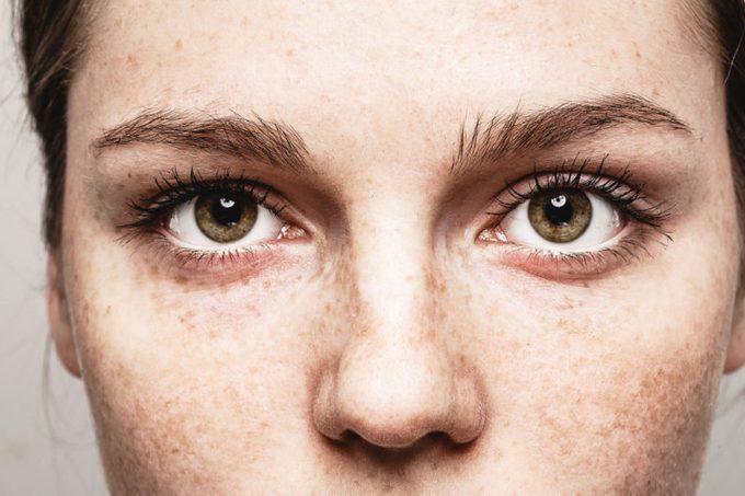 closeup of woman eyes face