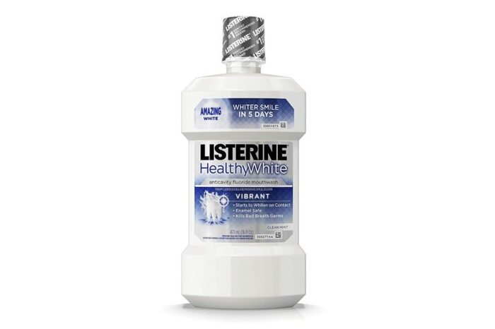 Listerine Healthy White Vibrant Multi-Action bottle of Fluoride Mouth Rinse, Foaming Anticavity Mouthwash