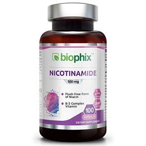 B-3 Nicotinamide 500 mg 100 Capsules - Natural Flush-Free Vitamin Formula | Gluten-Free Nicotinic Amide Niacin | Supports Skin Health | Healthy Cell Repair