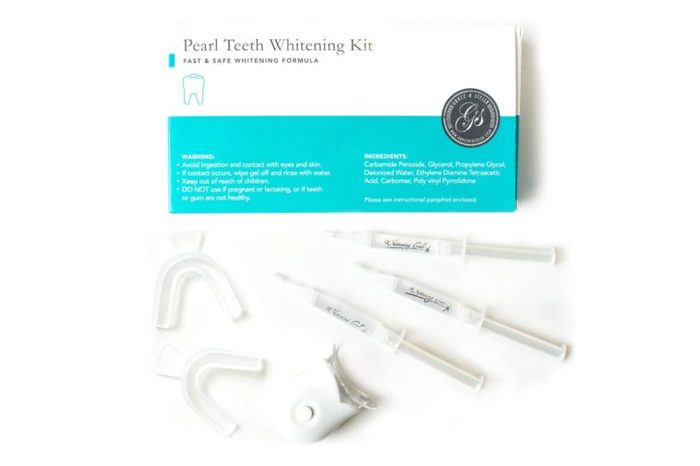 teeth whitening kit box and items