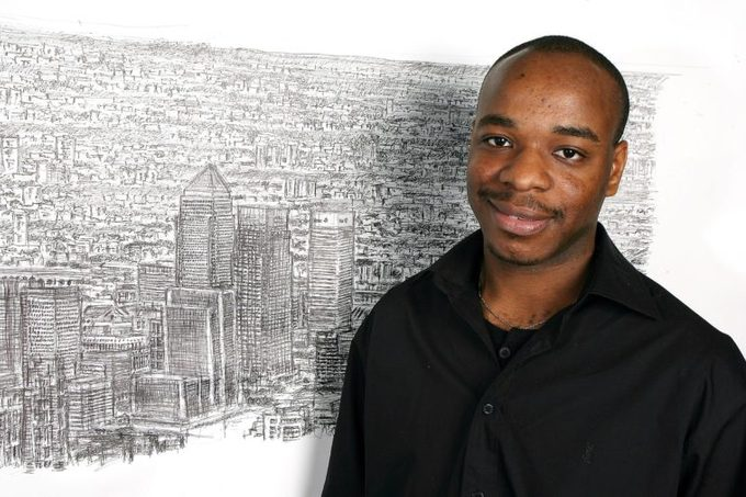 Artist Stephen Wiltshire sketching a panorama of London from memory, City Hall, London, Britain - 12 Oct 2007