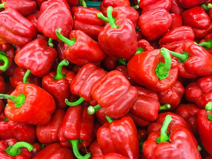 Red sweet bell pepper on the shelf in the fresh market