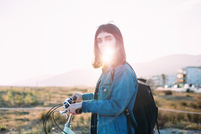 girl lens flare bike