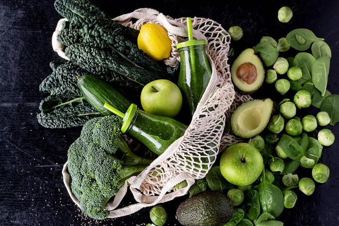 reusable grocery bag with green and yellow fruits vegetables