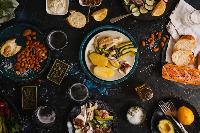 an assortment of foods on small plates