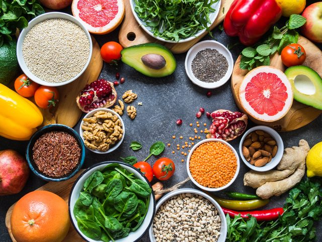 Fresh raw ingredients for healthy cooking from Mediterranean diet