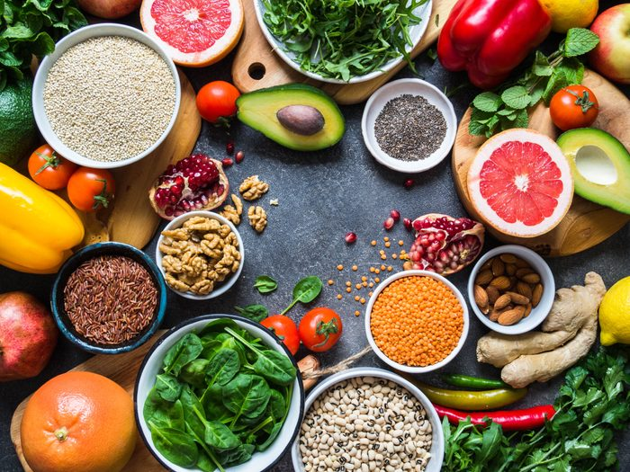 Vegetables, fruit, seeds, cereals, beans, spices, herbs