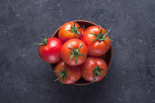 bowl of red, ripe tomatoes