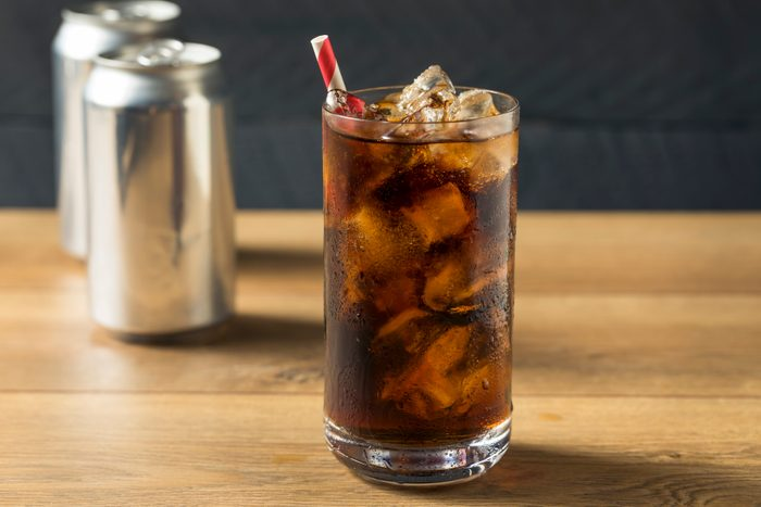 Bubbly Refreshing Dark Soda with Ice in a Glass
