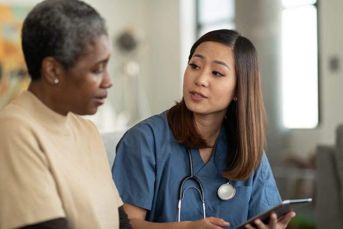 nurse and patient talking about test results
