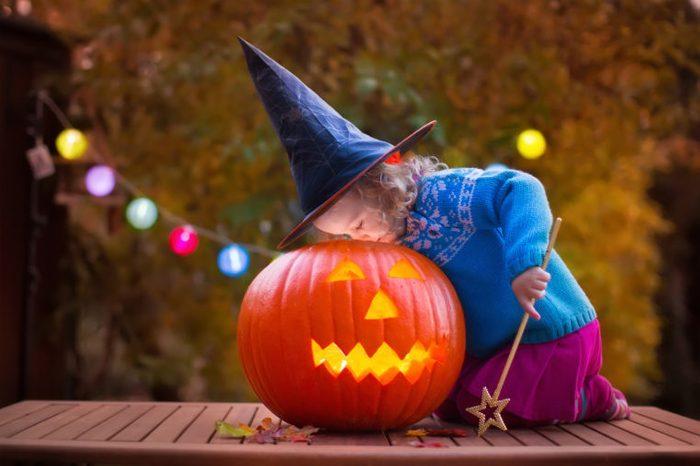 halloween pumpkin child witch wand