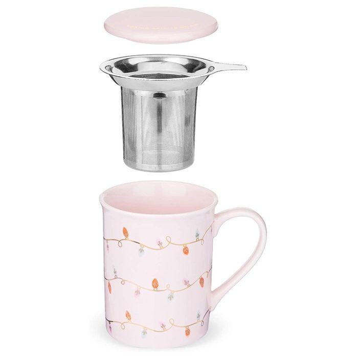 pinky up ceramic tea mug and infuser