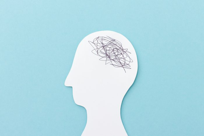 drawing with scribbles in the brain, showing anger or anxiety