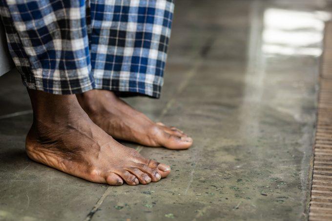 close up of man's bare feet