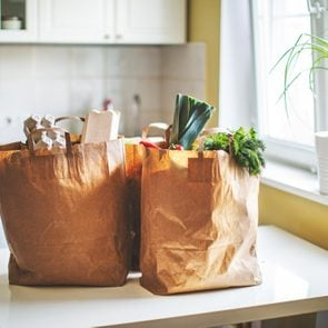 grocery bags sitting on counter
