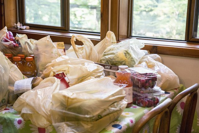 groceries on kitchen table