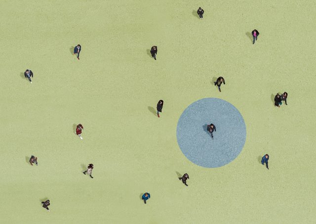 social distancing concept view from above
