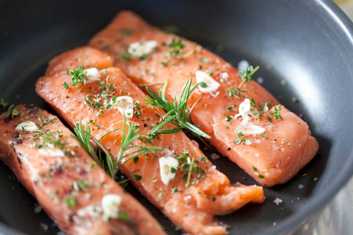 salmon cooking close up