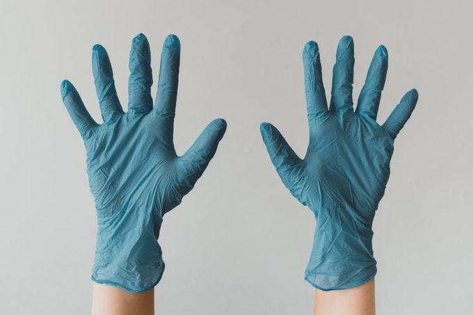 blue latex medical gloves