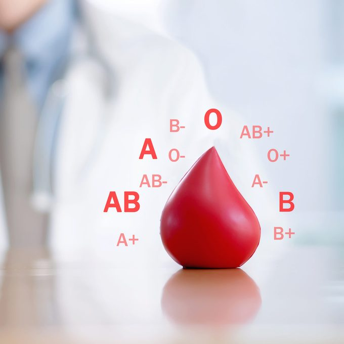 blood type concept with doctor in the background
