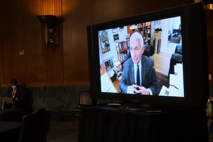 Senators listen to Dr. Anthony Fauci, director of the National Institute of Allergy and Infectious Diseases speak remotely during a Senate Health, Education, Labor and Pensions Committee hearing on Capitol Hill on May 12, 2020