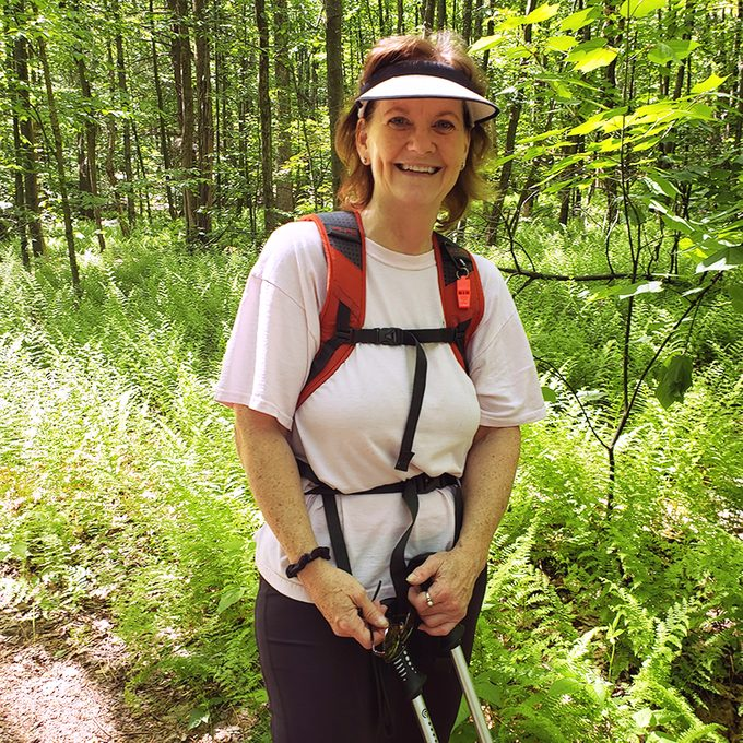 Ellen Schirmer pushing through back pain