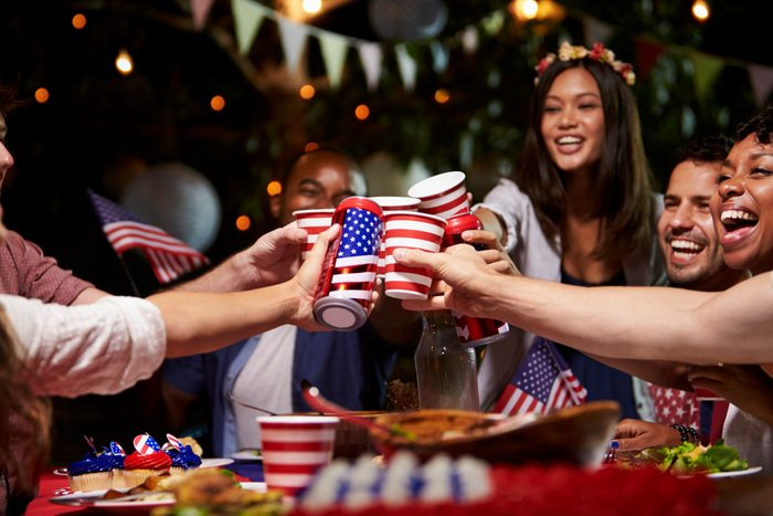 group of friends drinking on fourth of july