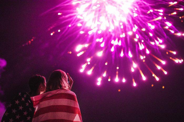 two girls watching fireworks
