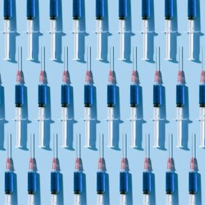 multiple vaccines on blue background