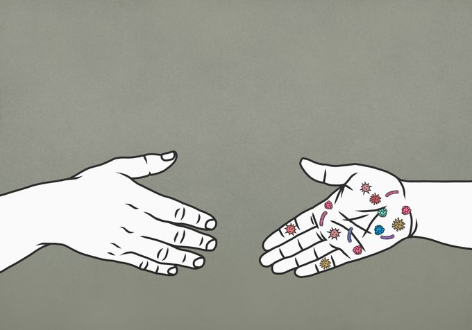 germs on hand illustration