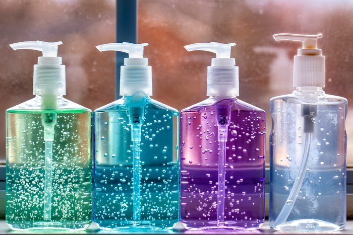 variety of hand sanitizers lined up
