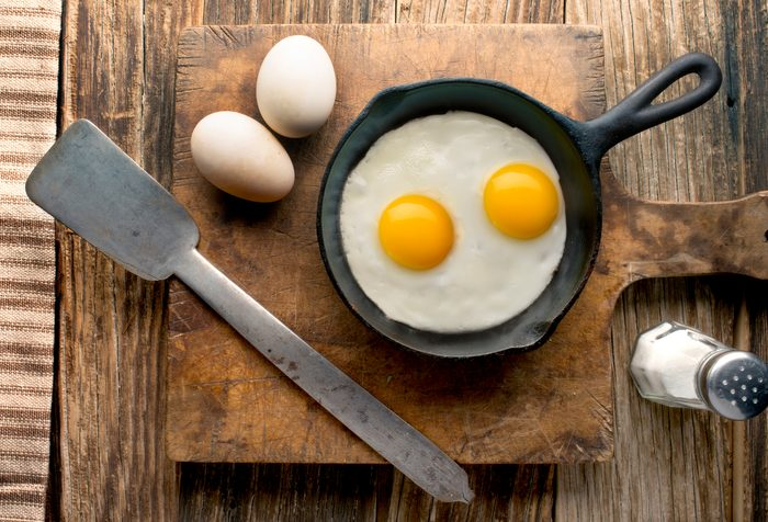 eggs in pan overhead