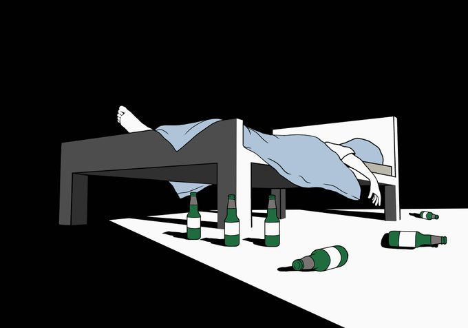 person in bed with beer bottles on floor alcoholism concept illustration