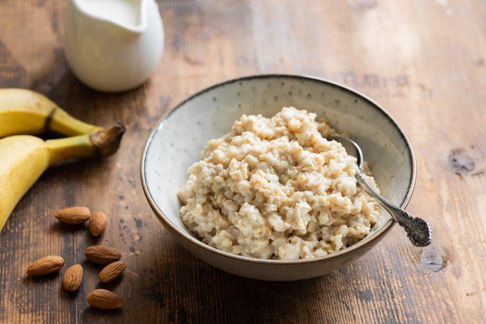 Oatmeal porridge in bowl for healthy breakfast