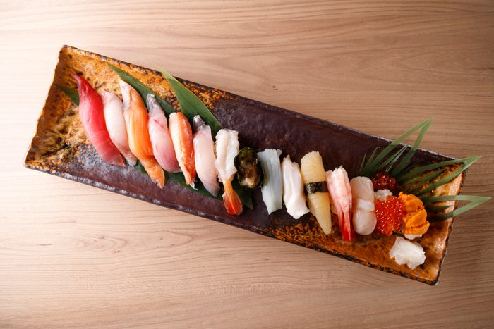 sashimi on plate from above