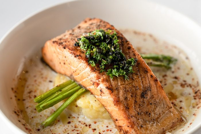 Baked Salmon with Mashed Potato and Asparagus, Creamy Sauce