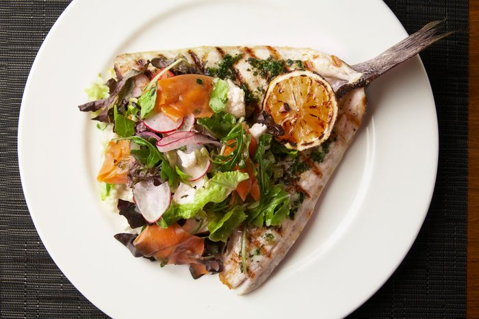 Open face Grilled Branzino, with salad