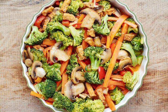 Broccoli, carrot, mushroom stir fry with tofu.