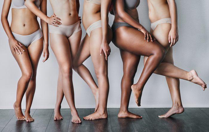cropped shot of five woman in underwear