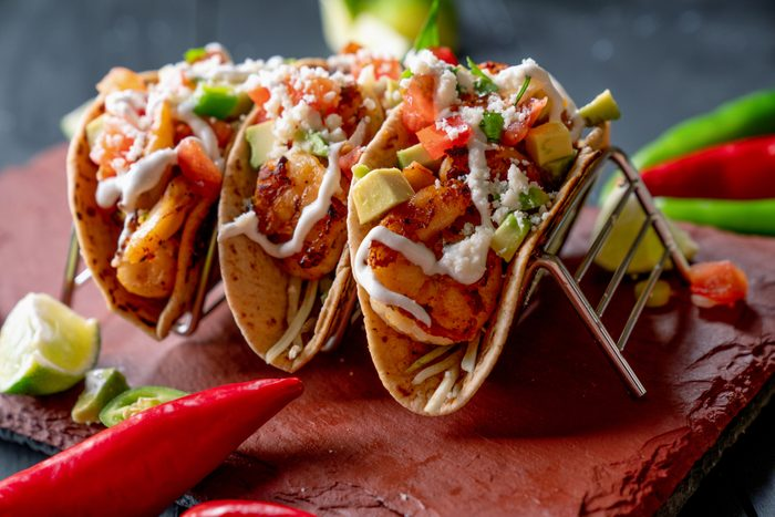 Colorful Street Tacos, Shrimp - Seafood, Fish, Grilled, Ready-To-Eat