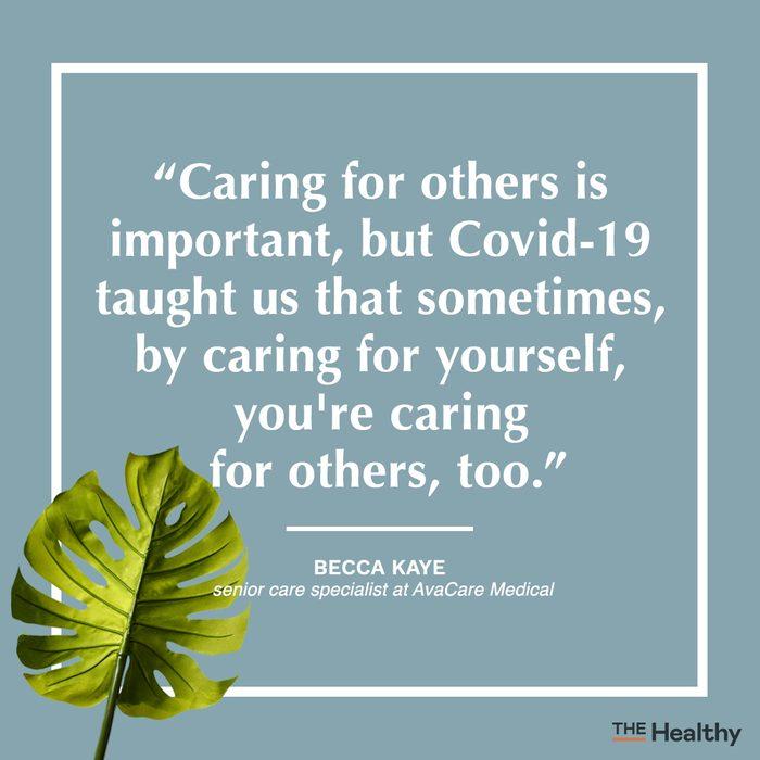 becca kaye self care quote