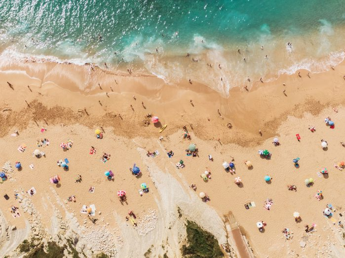 overhead shot of people at the beach