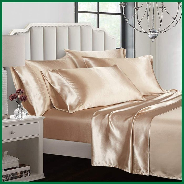AiMay 6 Piece Silk Satin Bed Sheet Set