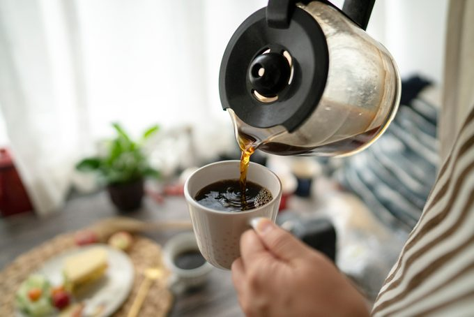 pouring coffee at breakfast