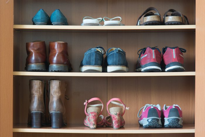 various shoes on shelf