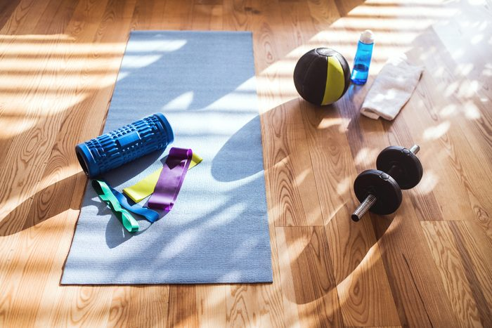 Exercise equipment on the floor at home.