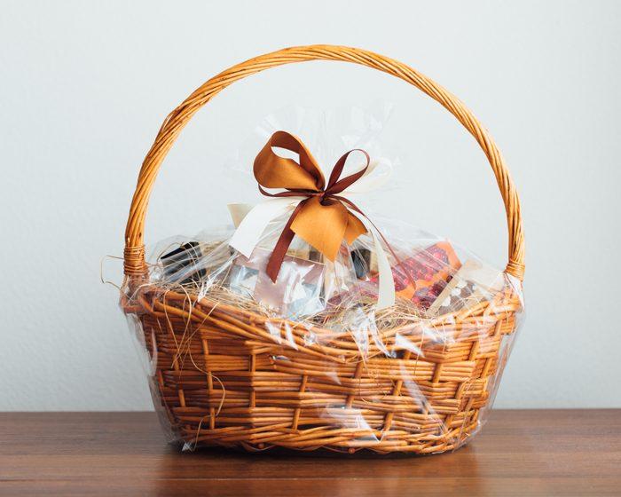 gift basket on gray background