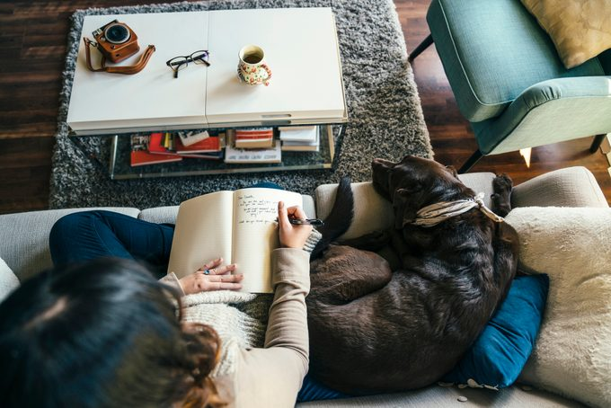 woman on sofa with dog writing in journal